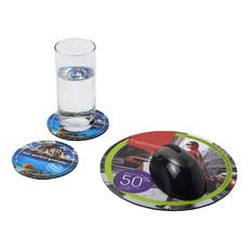 Set Q-Mat® 5 con tappetino per mouse e sottobicchieri - colore Nero