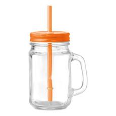 Bicchiere in vetro a forma barattolo colore arancio MO9565-10