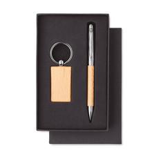 Set penna e portachiavi in legno colore legno MO9775-40