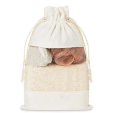 Set bagno in pouch di cotone colore beige MO9872-13