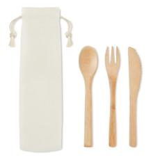 Set posate in bamboo con custodia colore beige MO9786-13