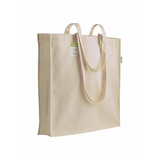 Shopper cotone organico con soffietto 38x42x8cm colore naturale