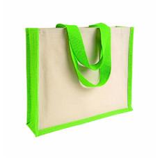 Shopper in juta e canvas con dettagli colorati colore verde mela