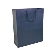 Busta laminata opaca con maniglie in cordino colore blu