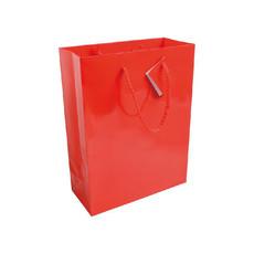 Busta regalo in carta laminata con biglietto auguri colore rosso