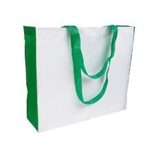 Shopper con soffietto e manici colorati colore verde