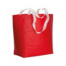 Shopper in RPET laminato con manici lunghi colore rosso
