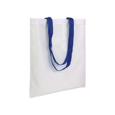 Shopper in poliestere bianca con manici colorati colore royal
