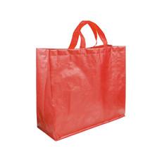 Shopper in polipropilene con soffietto e manici a nastro colore rosso