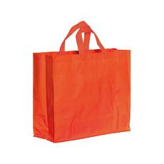 Shopper in polipropilene laminato con manici corti a nastro colore rosso