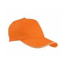Cappellino 5 pannelli con profilo in contrasto colore arancione
