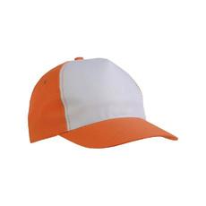 Cappellino bicolore 5 pannelli colore arancione