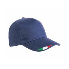 Cappellino in cotone con stampa tricolore colore blu