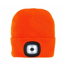Cappellino in maglia con luce LED removibile colore arancione