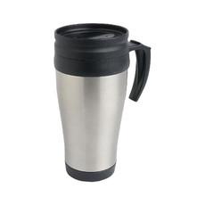 Tazza termica con tappo e manico in plastica colore argento