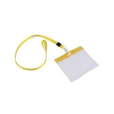 Porta badge con nastro da collo  colore giallo