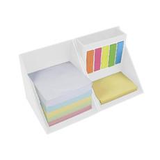 Porta post-it e portapenne a forma di cubo colore bianco