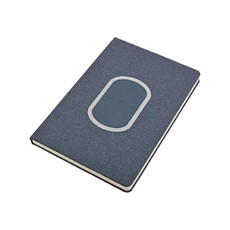 Quaderno A5 in tessuto melange con wireless colore blu