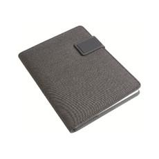 Quaderno e tech organizer in tessuto melange colore nero