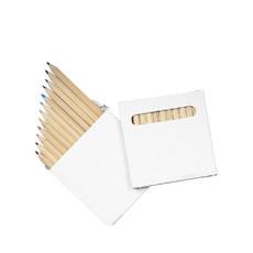 Set 12 matite colorate in scatola bianca colore bianco