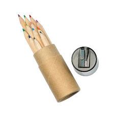 Set 12 matite colorate in tubo colore naturale