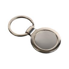 Portachiavi tondo in metallo colore argento
