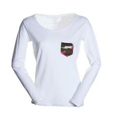 t-shirt donna con taschino a contrasto slubby jersey bianco Living Lady Payper