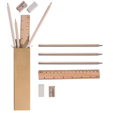 Set matite in legno naturale personalizzate