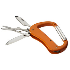 Coltellino 5 funzioni con moschettone - colore Arancio