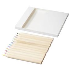 Set disegno con matite e fogli da colorare - colore Bianco
