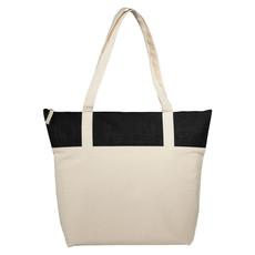 Shopper con zip in Juta e cotone - colore Naturale/Nero