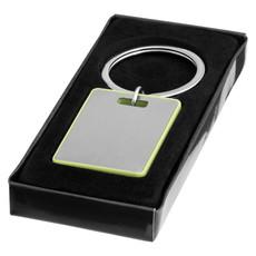 Portachiavi in alluminio con bordi colorati - colore Argento/Verde