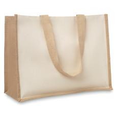 Shopperin in juta e canvas con interno laminato colore beige MO8967-13