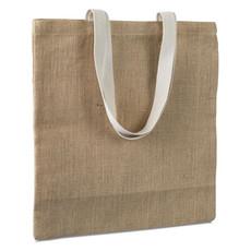 Shopper in juta con manici di cotone colore beige MO7264-13