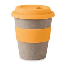 Bicchiere da take away con coperchio in silicone colore arancio MO8547-10