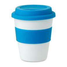 Bicchiere take away strato singolo con coperchio in silicone colore blu MO8078-04