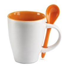 Tazza bicolore da 200ml con cucchiaino abbinato colore arancio MO7344-10