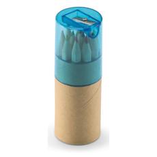 Set 12 matite colorate con temperino in contenitore colore blu trasparente KC6230-23