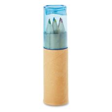 Set 6 matite colorate in contenitore con temperino colore blu trasparente MO8580-23
