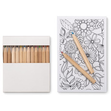 Set per disegnare con 12 matite e 10 fogli colore bianco MO8850-06