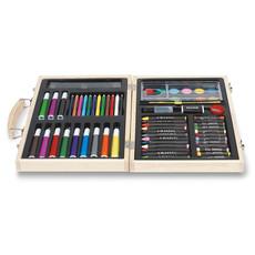 Set pittura 67 pezzi con pastelli e colori ad acqua colore legno IT2369-40