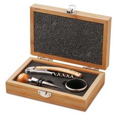 Set vino in scatola di bamboo colore legno MO8147-40