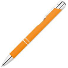 Penna a sfera con finitura gommata e specchiata colore arancio MO8857-10