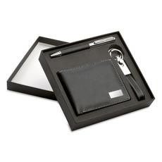 Portafogli con portachiavi e penna a sfera colore nero KC7109-03