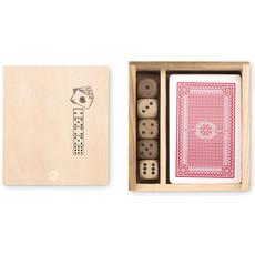 Set gioco carte e dadi con 54 carte da poker colore legno MO9187-40