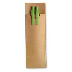 Set penna a sfera   e matita automatica in cartone colore lime MO7620-48