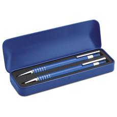 Set penna blu a sfera e matita in alluminio con astuccio colore blu MO7323-04