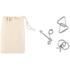 Set rompicapo in metallo in sacchetto di cotone colore beige MO9191-13