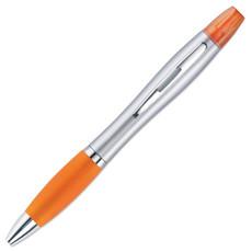 2in1 penna ed evidenziatore con impugnatura in gomma colore arancio MO7440-10