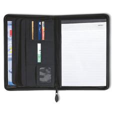 Portablocco A4 con zip con 4 scomparti e porta biglietti colore nero KC2387-03